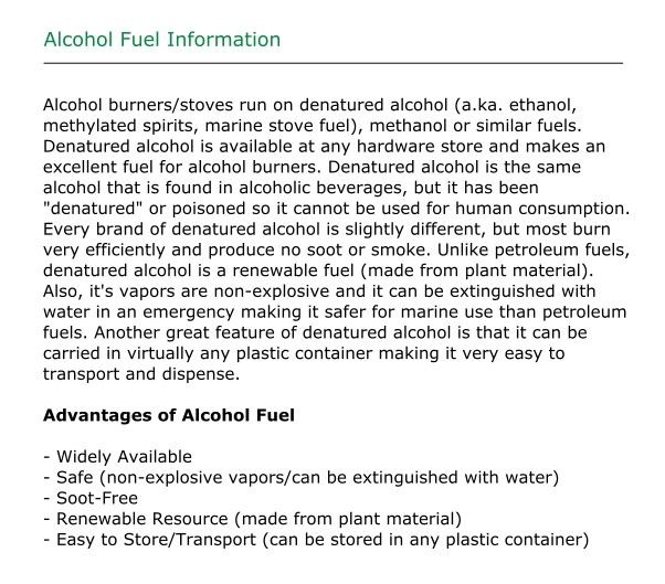 Alcohol Fuel Information